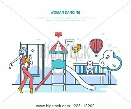 Woman Dancing Concept. Young Beautiful Girl, Teenager With Long Hair, Dancing In Recreation Park In