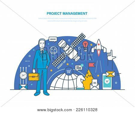 Project Management Concept. Planning And Organization Of Working Hours, Regulation, Time Management,