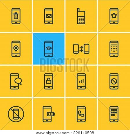 Vector Illustration Of 16 Smartphone Icons Line Style. Editable Set Of Star, Forbidden, Ring And Oth