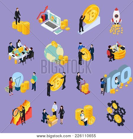 Ico Blockchain Concept Isometric Icons With Cryptocurrency, Research, Investment, Startup, Profit Is