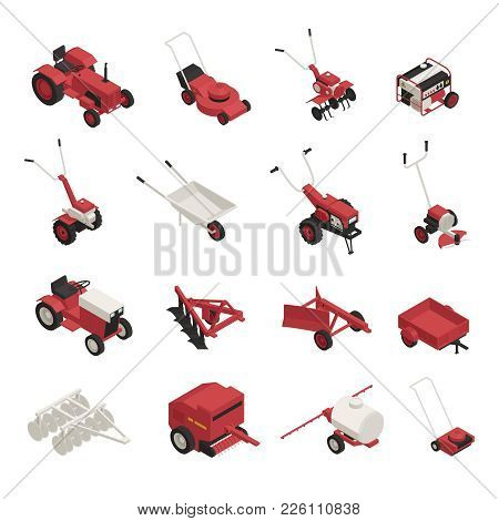 Garden Farm Machinery Outdoor Power Equipment Isometric Icons Collection With Lawnmowers Wheelbarrow