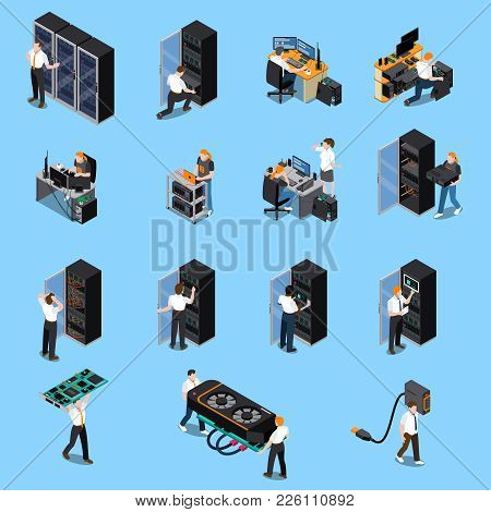 Information Technology Engineer And System Administrator People At Work Isometric Icons Set Isolated