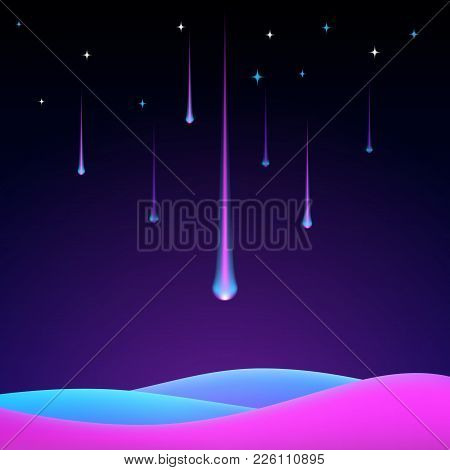 Shooting Stars, Falling Meteorite Or Comet With Glowing Light In The Galaxy Sky. Abstract Trendy Bac