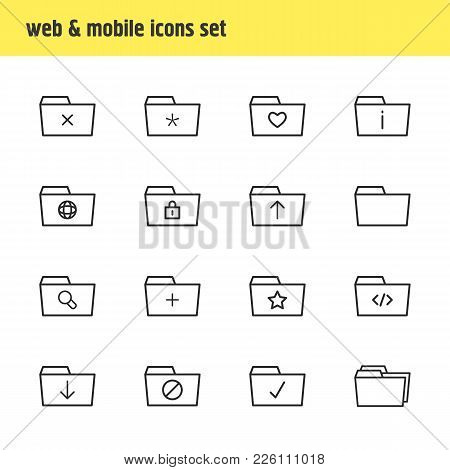 Vector Illustration Of 16 Document Icons Line Style. Editable Set Of Checked, Important, Shared And