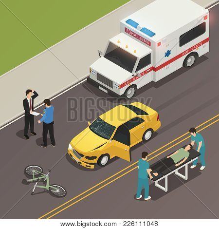 Traffic accident scene of car collision with bicycle isometric composition with drivers involved and ambulance vector illustration poster