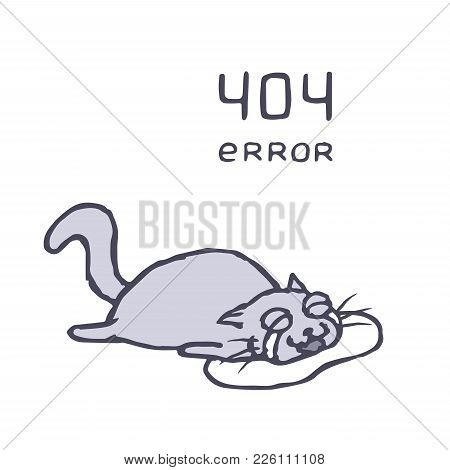 Sad Cat Tik Lies In Puddle Tears. Bad Day. Vector Illustration. Cute Pet Character.