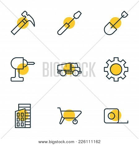 Vector Illustration Of 9 Construction Icons Line Style. Editable Set Of Carrier, Ruler, Hammer And O