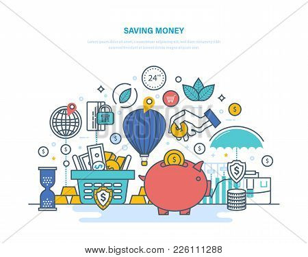 Saving Money Concept. Accumulation, Financial Security, Investments And Savings, Bank Deposits. Bank