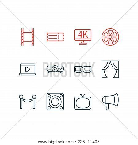 Vector Illustration Of 12 Cinema Icons Line Style. Editable Set Of Filmstrip, Slideshow, Tv And Othe