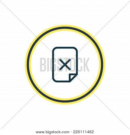 Vector Illustration Of Delete File Icon Line. Beautiful Storage Element Also Can Be Used As Remove I