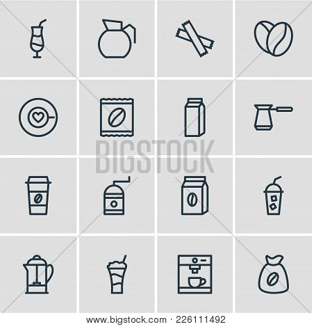 Vector Illustration Of 16 Java Icons Line Style. Editable Set Of Cold Drink, Pot, Sack And Other Ico