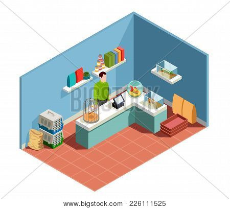 Pet Shop Isometric Composition With Goods For Pet Seller Behind Counter Parrot In Cage Goldfish In A