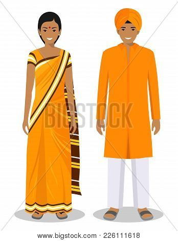 Detailed Illustration Of Standing Indian People In The Traditional National Indian Clothing Isolated