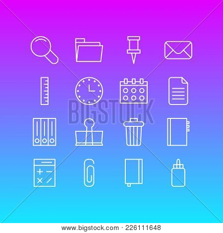 Vector Illustration Of 16 Instruments Icons Line Style. Editable Set Of Envelope, Trash Bin, Clip An