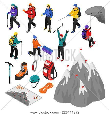 Mountaineering Isometric Set Of Touristic Equipment And Climbers Characters In Helmets And Winter Sp