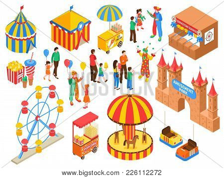 Amusement Park Isometric Set With Circus Tent Ice Cream And Popcorn Carts Clowns Handing Out Air Bal