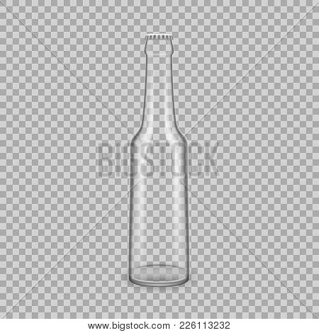 Realistic Template Of Empty Glass Transparent Bottles For Drinks Of Juice, With Lids. Template, Brea