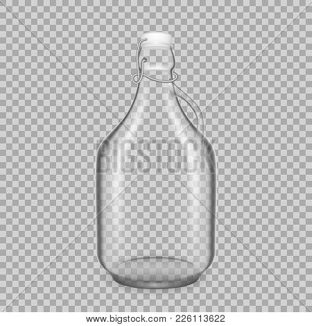 Realistic Template Of Empty Glass Transparent Bottles For Drinks Of Milk, With Lids. Template, Bread
