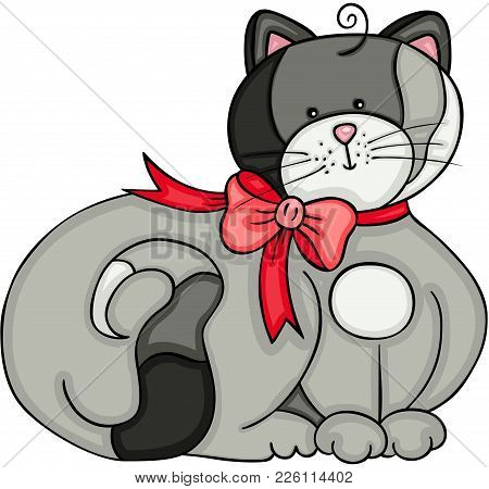 Scalable Vectorial Representing A Cute Gray Cat With Bow Ribbon, Illustration Isolated On White Back