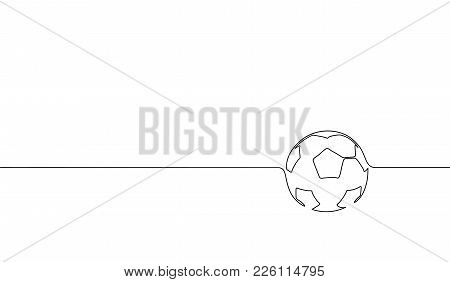 Single Continuous Line Art Football Ball Silhouette. Championship Final Play Game Sport Competition