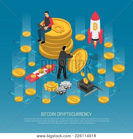 Cryptocurrency Technology Isometric Poster With Man Sitting On Bitcoins Rocket Launch Blockchain And