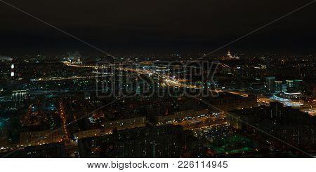 Night View Of Moscow And Third Ring Road, Long Exposure