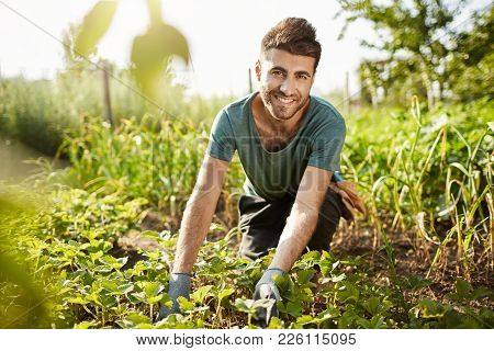 Healthy Lifestyle. Countryside Life. Close Up Outdoors Portrait Of Young Attractive Bearded Caucasia
