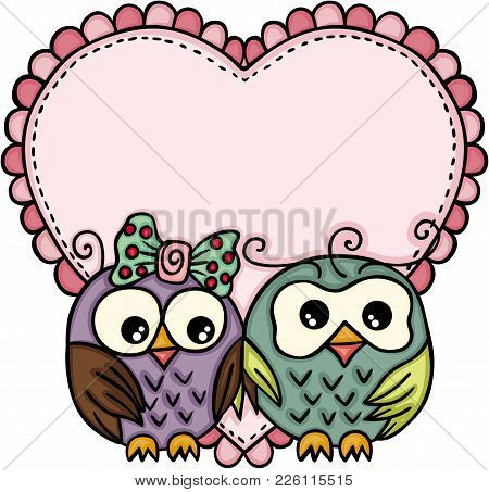 Scalable Vectorial Representing A Owl Couple In Love With Big Heart, Illustration Isolated On White