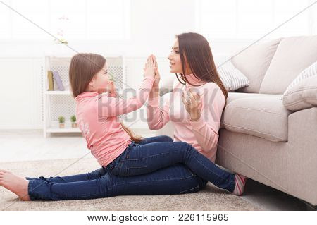 Play Clapping Hands Together With Mum. Mothers Day, Relationship, Motherhood, Joint Activities And I