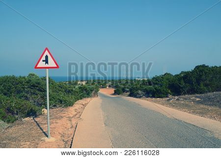 Road Turn Signal On The Road To The Sea In Cyprus, Cape Greco