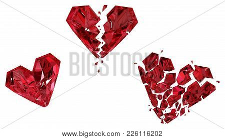 Ruby Heart Breaking Red Gem Three Steps Shatter Damage Progress, 3d Illustration, Horizontal, Isolat