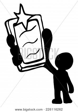 Phone Camera Flashing Figure Stylized Stencil Black, Vector Illustration, Vertical, Isolated