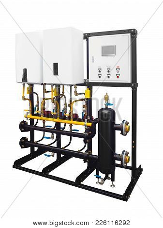 Modern Combined Boiler Room Gas Electric Cascade System For Heating Water In A House Isolated On A W