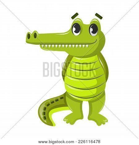 Beautiful Funny Cartoon Crocodile. Large Cute Crocodile, Alligator, Semi-aquatic Vertebrate Predator
