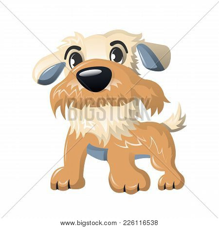 Beautiful Funny Cartoon Dog, Furry Human Friend, Home Animal And Decorative Dog: Cute Fluffy Animal,
