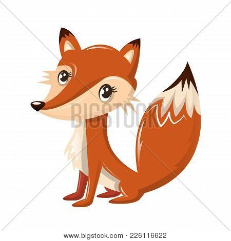 Funny Wild Cartoon Red-orange Fox, With A Nice Kind Look. Modern Wild Animals From The Zoo. Wild Inh