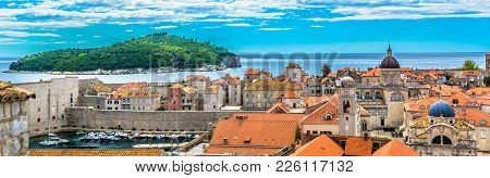 Panorama Of Amazing Historical Town Dubrovnik, Famous Tourist Resort In Southern Europe, Croatian La