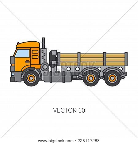 Color Flat Vector Icon Construction Machinery Truck Tipper. Industrial Retro Style. Corporate Cargo