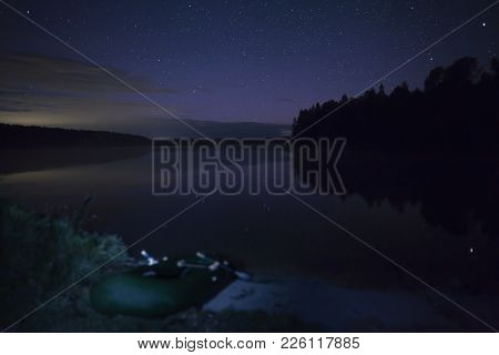 Beautiful Night Star Landscape, Amazingly Beautiful Night Landscape On The River Bank With Starry Sk
