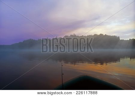 Beautiful Morning Landscape, Morning Mist Over The River, Dawn, Fog, Morning Peace And Quiet On The