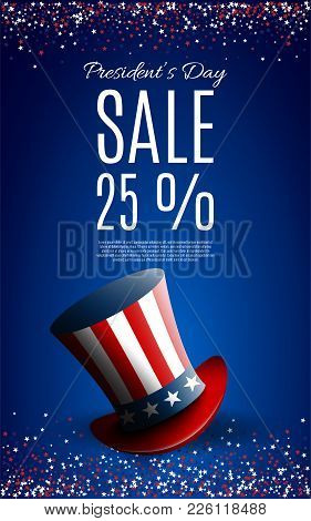 Presidents' Day Sale Banner With President's Hat