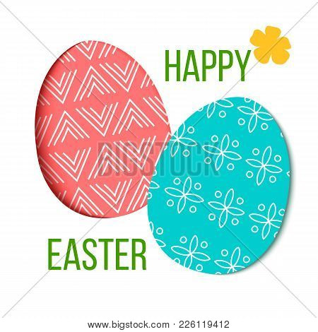 Happy Easter. Decorated Red And Green Festive Eggs With Simple Abstract Decoration. Isolated. Forget