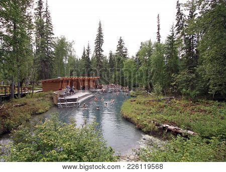 Liard River Hot Springs, Bc, Canada - August 13, 2017: This Is The Second Largest Hot Spring In Cana