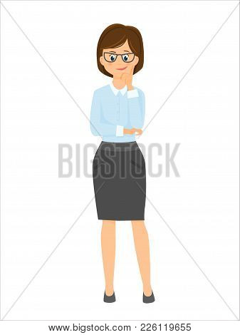 Cartoon Smiling Businesswoman Thinks.vector Illustration. Isolated On White Background