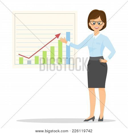 Cartoon Businesswoman.vector Illustration. Isolated On White Background