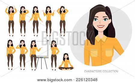 Set Of Emotions And Poses For Business Woman.young Girl In A Cartoon Style Experiences Different Emo