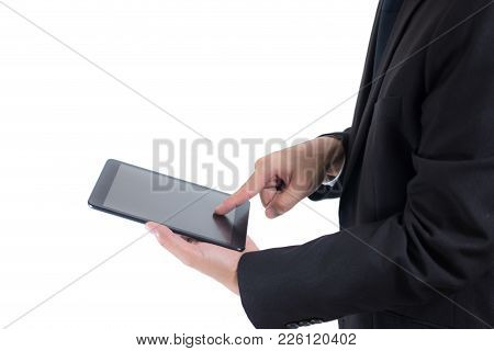 Closeup Midsection Of Businessman Wear Black Suit. Hand Holding Blank Screen Digital Tablet Blank Co