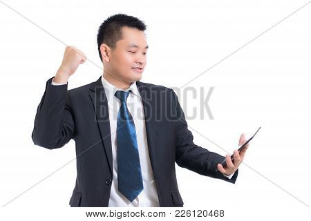 Closeup Businessman Wear Black Suit. Hand Holding Blank Screen Digital Tablet Blank Copy Space Scree