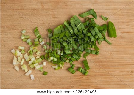 Chopped Leaves Of Ramson On A Chopping Board