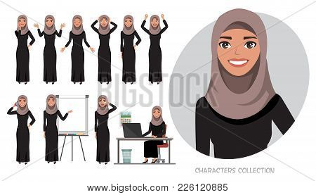 Set Of Emotions And Poses For Arabic Business Woman.young Girl In A Cartoon Style Experiences Differ